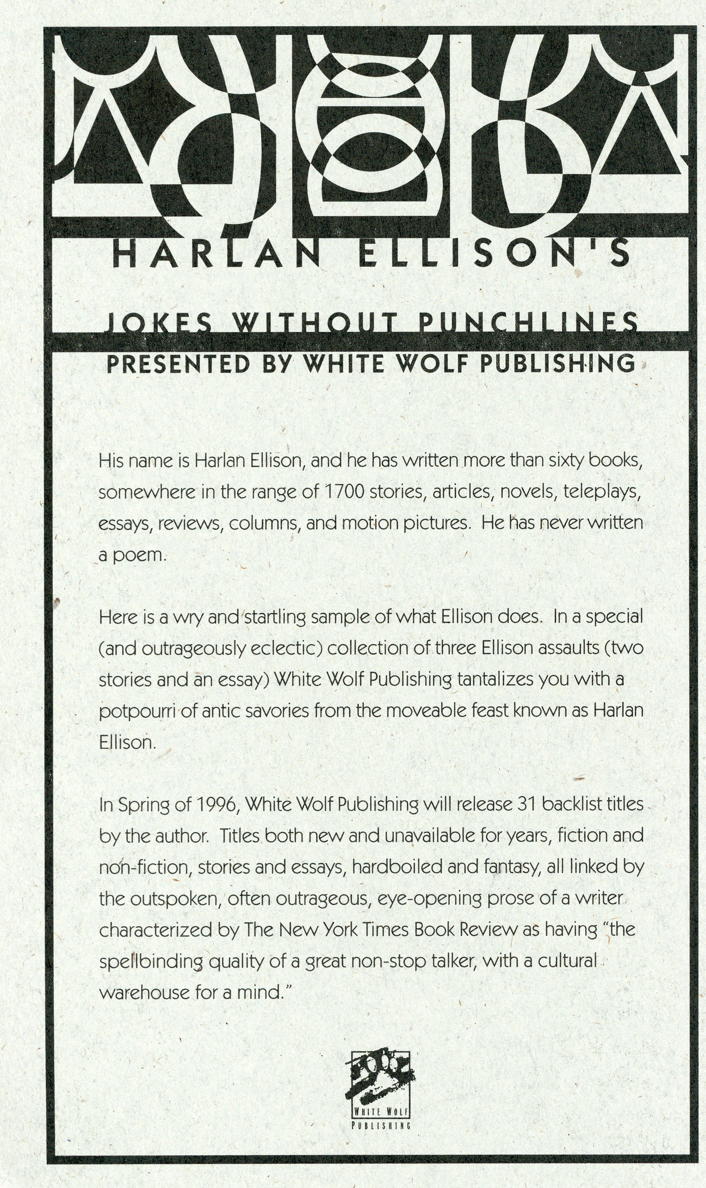 HarlanEllisonBooks.com » Jokes without Punchlines (White Wolf, 3 ...